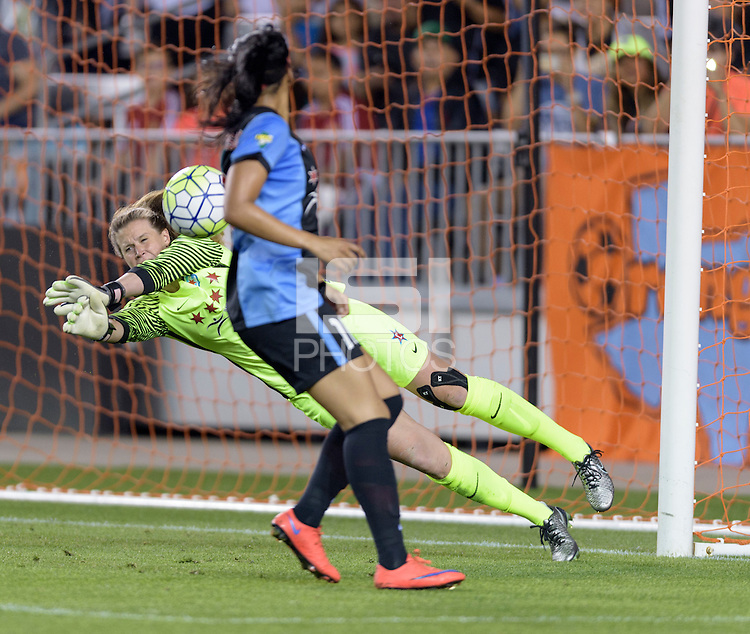Houston Texas - Alyssa Naeher (1) of the Chicago Red Stars makes a save in the first half against the Houston Dash on Saturday, April 16, 2016 at BBVA Compass Stadium in Houston Texas.  The Houston Dash defeated the Chicago Red Stars 3-1.