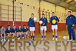 North Kerry School Of Football Excellence: Three members of The Feale Rangers Minor team displaying their skills at a Coaching course in St Michael's College on Monday evening under the watchful eye of Coacl Thomas Dillon. L-R : Eamonn McKenna,Duagh, Timmy Noonan, Moyvane, Shane Stack, Moyvane & Coach Thomas Dillon.