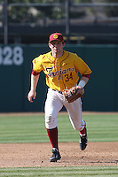 Kevin Swick # 34 of the USC Trojans plays third base during a game against the Northwestern Wildcats at Dedeaux Field on  February 16, 2014 in Los Angeles, California. USC defeated Northwestern, 13-6. (Larry Goren/Four Seam Images)