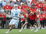 Baltimore, MD - April 28, 2018: Maryland Terrapins Austin Henningsen (17) in action during game between John Hopkins and Maryland at  Homewood Field in Baltimore, MD.  (Photo by Elliott Brown/Media Images International)