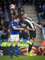 Andy Carroll of Newcastle United & Caglar Soyuncu of Leicester City during the Premier League match between Leicester City and Newcastle United at the King Power Stadium, Leicester, England on 29 September 2019. Photo by Andy Rowland.