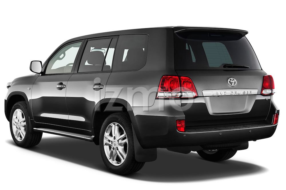 Angular Rear three quarter view of 2011 Toyota Land Cruiser V8 VX SUV Stock Photo