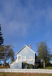 wood frame house, Port Gamble Historic District, Kitsap Peninsula, Puget Sound, Washington State, Pacific Northwest, USA, 1800's small town architecture, autumn,