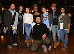 "Gregory Treco, Raven Thomas, Lauren Boyd, Denee Benton, Sean Green Jr., Terrance Spencer, Thayne Jasperson and Sasha Hollinger during the ""Hamilton"" eduHAM Student Matinee Q & A  at the Richard Rodgers Theatre on February 13, 2019 in New York City."