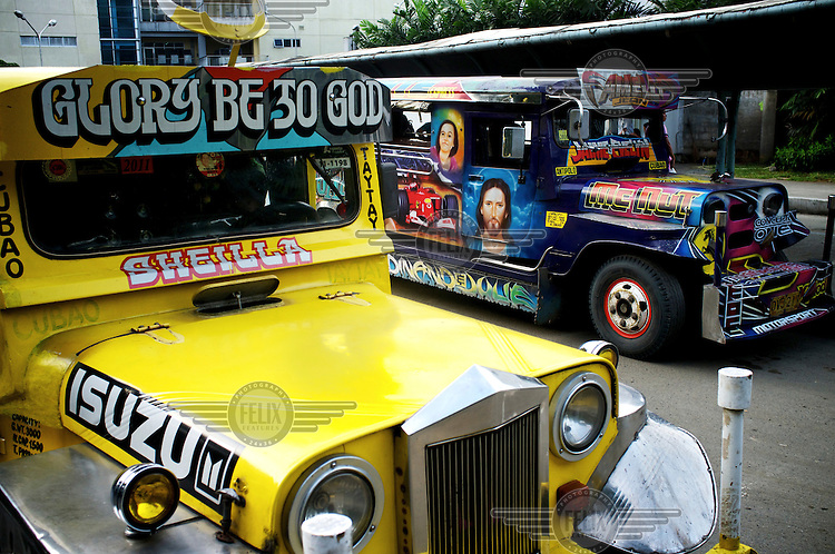 Jeepneys decorated with religous and cultural icons.