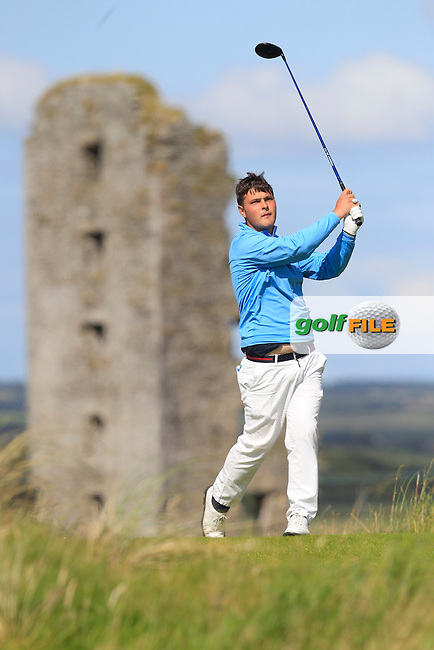 Stuart Bleakley (Shandon Park) on the 13th tee during Round 2 of the South of Ireland Amateur Open Championship at LaHinch Golf Club on Thursday 23rd July 2015.<br /> Picture:  Golffile | Thos Caffrey