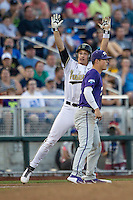 Vanderbilt Commodores outfielder Bryan Reynolds (20) celebrates after hitting a triple against the TCU Horned Frogs in Game 12 of the NCAA College World Series on June 19, 2015 at TD Ameritrade Park in Omaha, Nebraska. The Commodores defeated TCU 7-1. (Andrew Woolley/Four Seam Images)