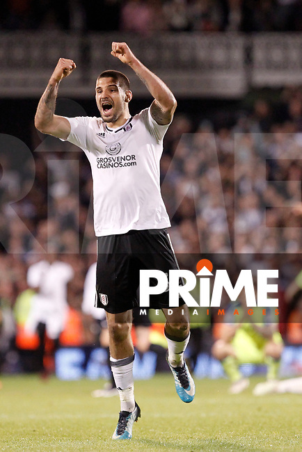 Aleksander Mitrovic of Fulham shows his delight during the Sky Bet Championship play off semi final 2nd leg match between Fulham and Derby County at Craven Cottage, London, England on 15 May 2018. Photo by Carlton Myrie / PRiME Media Images.