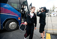 SPOKANE, WA - MARCH 28, 2011: Sara James at the Stanford Women's Basketball vs Gonzaga, NCAA West Regional Finals arrival at the Spokane Arena on March 28, 2011.