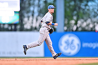 Asheville Tourists shortstop Brendan Rodgers (1) during a game against the Greenville Drive at Fluor Field on April 7, 2016 in Greenville South Carolina. The Drive defeated the Tourists 4-3. (Tony Farlow/Four Seam Images)