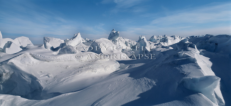 Pressure ridges in the ice near Scott Base. Ross Island. Antarctica.