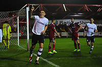 Preston North End's Jordan Hugill celebrates scoring his sides equalising goal to make the score 2-2<br /> <br /> Photographer Kevin Barnes/CameraSport<br /> <br /> The Carabao Cup - Accrington Stanley v Preston North End - Tuesday 8th August 2017 - Crown Ground - Accrington<br />  <br /> World Copyright &copy; 2017 CameraSport. All rights reserved. 43 Linden Ave. Countesthorpe. Leicester. England. LE8 5PG - Tel: +44 (0) 116 277 4147 - admin@camerasport.com - www.camerasport.com