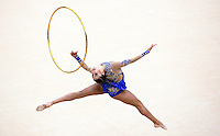 11 AUG 2012 - LONDON, GBR - Evgeniya Kanaeva (RUS) of Russia performs her hoop routine during the 2012 London Olympic Games Individual All-Around Rhythmic Gymnastics final at Wembley Arena in London, Great Britain (PHOTO (C) 2012 NIGEL FARROW)