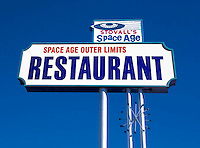 Stovall's Space Age Outer Limits Restaurant sign in Gila Bend, AZ