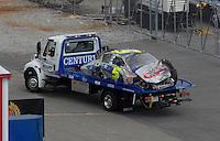 Apr 28, 2007; Talladega, AL, USA; The car of Nascar Busch Series driver Kyle Busch (5) after crashing during the Aarons 312 at Talladega Superspeedway. Mandatory Credit: Mark J. Rebilas