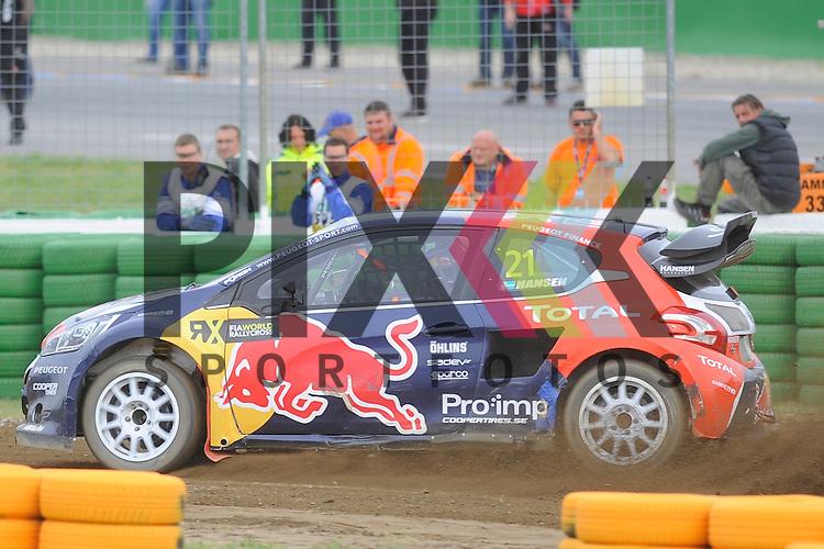 # 21 Timmy Hansen Team Peugeot Hansen  beim Rallycross auf dem Hockenheimring.<br /> <br /> Foto &copy; P-I-X.org *** Foto ist honorarpflichtig! *** Auf Anfrage in hoeherer Qualitaet/Aufloesung. Belegexemplar erbeten. Veroeffentlichung ausschliesslich fuer journalistisch-publizistische Zwecke. For editorial use only.