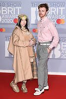 Billie Eilish and Finneas O'Connell<br /> arriving for the BRIT Awards 2020 at the O2 Arena, London.<br /> <br /> ©Ash Knotek  D3555 18/02/2020
