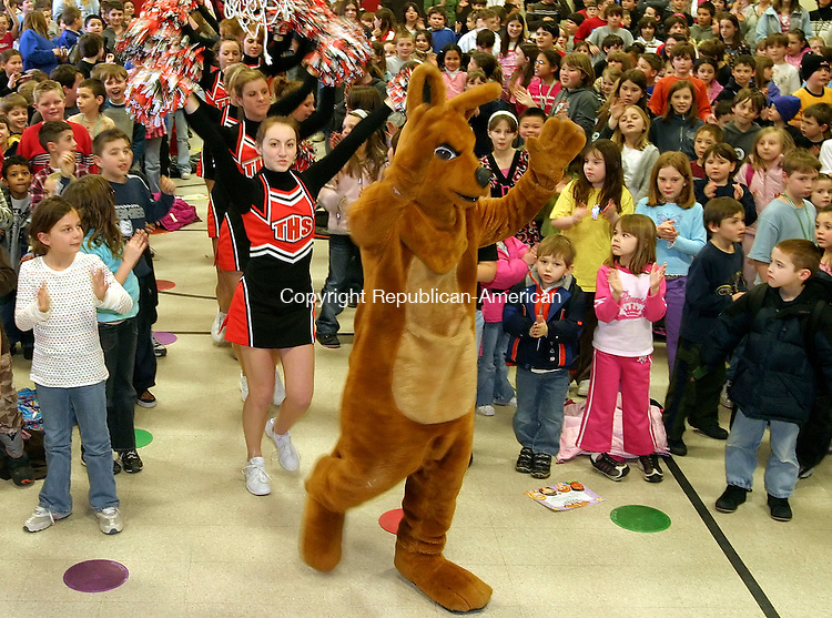 PLYMOUTH, CT- 29 February 2008 --022908JS11--The Terryville High School mascot as well as cheerleaders get students fired up at Main Street School in Plymouth on Friday during a pep rally to get the kids excited for the upcomint Connecticut Mastery Test. <br /> Jim Shannon / Republican-American