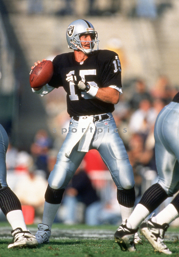 Oakland Raiders Jeff Hostetler (15) during a game from his 1995 season with the Oakland Raiders.  Jeff Hostetler played for 12 years, with 3 different teams and was a 1-time Pro Bowler.(SportPics)