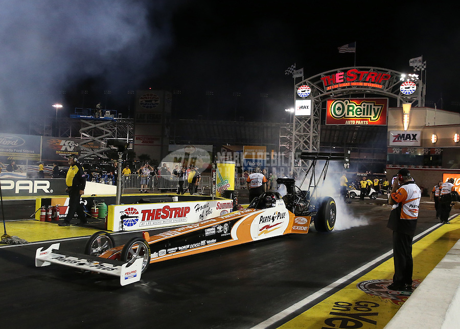 Apr. 5, 2013; Las Vegas, NV, USA: NHRA top fuel dragster driver Clay Millican during qualifying for the Summitracing.com Nationals at the Strip at Las Vegas Motor Speedway. Mandatory Credit: Mark J. Rebilas-