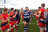 Charlie Ewels of Bath Rugby celebrates the win with the crowd. Aviva Premiership match, between Bath Rugby and Worcester Warriors on October 7, 2017 at the Recreation Ground in Bath, England. Photo by: Patrick Khachfe / Onside Images