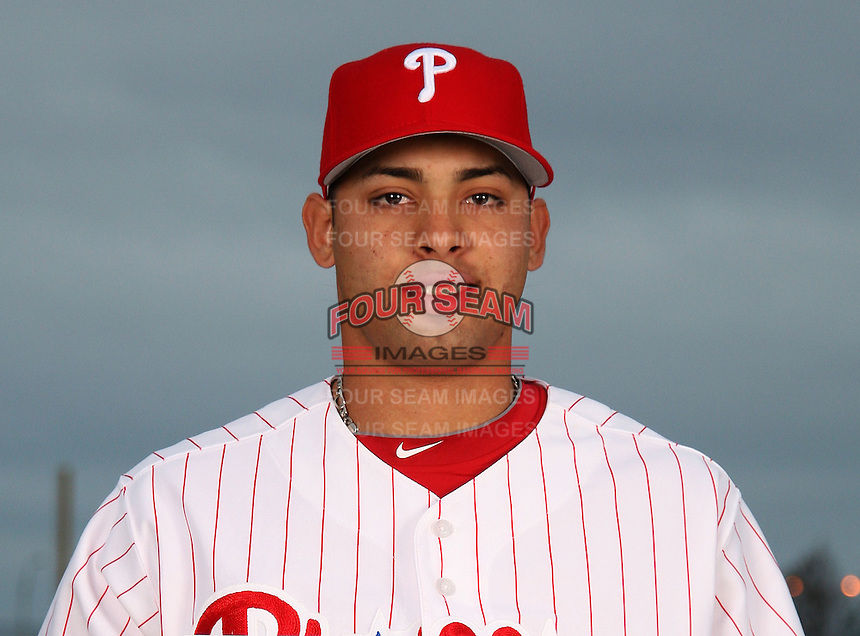 February 24, 2010:  Pitcher Jesus Sanchez (67) of the Philadelphia Phillies poses during photo day at Bright House Field in Clearwater, FL.  Photo By Mike Janes/Four Seam Images