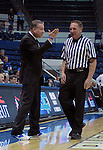 January 24, 2015 - Colorado Springs, Colorado, U.S. -   Air Force head coach, Dave Pilipovich, reacts to a call during a Mountain West Conference match-up between the Boise State Broncos and the Air Force Academy Falcons at Clune Arena, U.S. Air Force Academy, Colorado Springs, Colorado.  Boise State defeats Air Force 77-68.