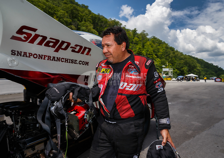 Jun 17, 2017; Bristol, TN, USA; NHRA funny car driver Cruz Pedregon during qualifying for the Thunder Valley Nationals at Bristol Dragway. Mandatory Credit: Mark J. Rebilas-USA TODAY Sports