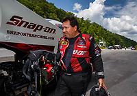Jun 17, 2017; Bristol, TN, USA; NHRA funny car driver Cruz Pedregon during qualifying for the Thunder Valley Nationals at Bristol Dragway. Mandatory Credit: Mark J. Rebilas-USA TODAY Sports