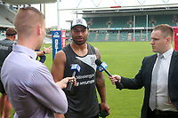 Picture by David Neilson/SWpix.com/PhotosportNZ - 09/02/2018 - Rugby League - Betfred Super League - Wigan Warriors v Hull FC - Captain's Run - WIN Stadium, Wollongong, Australia - Mickey Paea is interviewed.