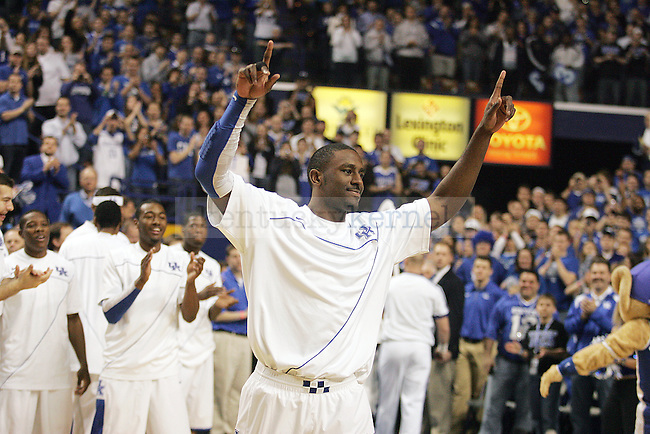 Junior forward Patrick Patterson walks out on the court for senior day honors beforethe first half of UK's win over Florida at Rupp Arena on Sunday, March 7, 2010. Photo by Britney McIntosh | Staff
