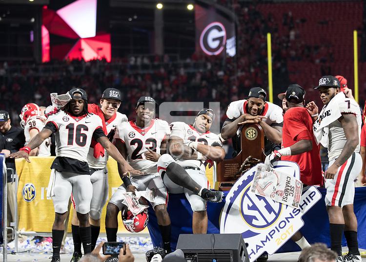 Atlanta, GA - December 2, 2017: The number 6 ranked Georgia Bulldogs face the number 2 ranked Auburn Tigers at Mercedes Benz Stadium in the SEC Championship Game.  Final score Georgia 28, Auburn 7.