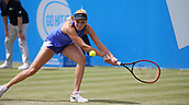 June 16th 2017, Nottingham, England; WTA Aegon Nottingham Open Tennis Tournament day 5;  Donna Vekic of Croatia reaches for a backhand in her match against Maria Sakkari of Greece