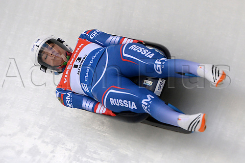 14.02.2016. Altenberg, Germany. Tatiana Ivanova of Russia in action during the womens Singles competition of the Luge World Cup in Altenberg, Germany, 14 February 2016.