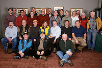 Tuesday February 16, 2010.  Volunteer Iditarod Airforce pilots pose for a photo prior to their final meeting before the race flying begins.  Millenium hotel race headquarters.
