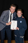 St Johnstone FC Academy Awards Night...06.04.15  Perth Concert Hall<br /> Zander Clark presents a certificate to Mark Walker<br /> Picture by Graeme Hart.<br /> Copyright Perthshire Picture Agency<br /> Tel: 01738 623350  Mobile: 07990 594431