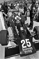 INDIANAPOLIS, IN - MAY 28: Danny Ongais prepares to drive his Parnelli VPJ6B/VPJ Cosworth during practice for the Indy 500 at the Indianapolis Motor Speedway in Indianapolis, Indiana, on May 28, 1978.