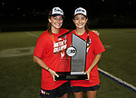 Maryland women's lacrosse captains Zoe Stukenberg, left, and Nadine Hadnagy with the Big Ten Regular Season Championship trophy after defeating Penn State on April 20, 2017.  Photo/Craig Houtz