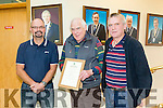 Mayoral Recognition for Michael. Tralee Mayor Cllr Terry O'Brien presented Michael Culloty a plaque in recognition of 25 Year service in providing public Transport in Tralee Town with Tralee Peoples Bus Service. Pictured l-r Terence Culloty, Michael Culloty and Deny Culloty