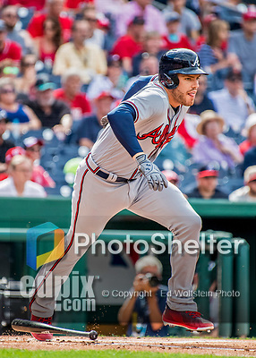 8 July 2017: Atlanta Braves third baseman Freddie Freeman in action against the Washington Nationals at Nationals Park in Washington, DC. The Braves shut out the Nationals 13-0 to take the third game of their 4-game series. Mandatory Credit: Ed Wolfstein Photo *** RAW (NEF) Image File Available ***