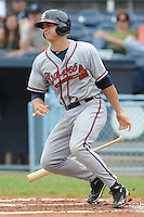 Rome Braves designated hitter Evan Gattis  #36 swings at a pitch during a game against the Asheville Tourists at McCormick Field on June 26, 2011 in Asheville, North Carolina.  The Tourists won the game 4.  (Tony Farlow/Four Seam Images)