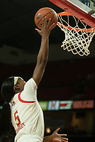 COLLEGE PARK, MD - NOVEMBER 20: Kaila Charles #5 of Maryland makes a basket during a game between George Washington University and University of Maryland at Xfinity Center on November 20, 2019 in College Park, Maryland.