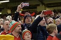 Scotland fans sing during the Scottish national anthem<br /> <br /> Photographer Ian Cook/CameraSport<br /> <br /> Under Armour Series Autumn Internationals - Wales v Scotland - Saturday 3rd November 2018 - Principality Stadium - Cardiff<br /> <br /> World Copyright © 2018 CameraSport. All rights reserved. 43 Linden Ave. Countesthorpe. Leicester. England. LE8 5PG - Tel: +44 (0) 116 277 4147 - admin@camerasport.com - www.camerasport.com