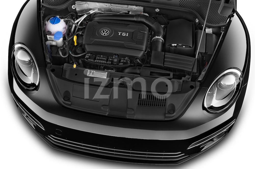 Car Stock 2014 Volkswagen Beetle Sport R-Line 3 Door Hatchback 2WD Engine high angle detail view