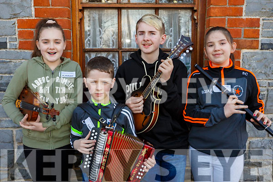 Musicians, Alannah Moroney, Dan Quilter (Lixnaw), Dillion Carroll (Ballydonghue) and Siun Cronin (Finuge) attending the 28th Annual Féile Feabhra Ceolann workshop, at the Diarmuid Ó Catháin Cultural Centre, in Lixnaw on Saturday last.