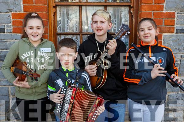 Musicians, Alannah Moroney, Dan Quilter (Lixnaw), Dillion Carroll (Ballydonghue) and Siun Cronin (Finuge) attending the 28th Annual Féile Feabhra Ceolann workshop, at the Diarmuid Ó Catháin Cultural Centre, in Lixnaw on Saturday last.