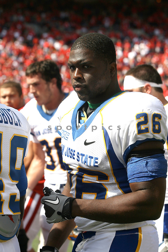MOHAMED MARAH, of San Jose State, in action during the San Jose State game against Wisconsin on September 11, 2010 in Madison, Wisconsin...Wisconsin wins 27-14..SportPics