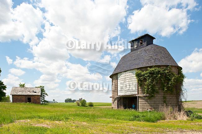 Masonry round corn crib at abandoned farm in eastern Iowa
