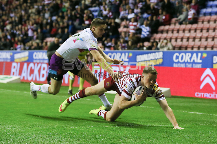 Picture by Paul Currie/SWpix.com - 01/05/2015 - Rugby League - First Utility Super League - Wigan Warriors v Hull Kingston Rovers- DW Stadium, Wigan, England - Wigan Warriors George Williams scores his hat trick