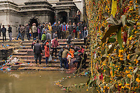 November 22, 2014 - Kathmandu (Nepal). A family prepares the body of a loved one for an open-air cremation at the Pashupatinath Temple in Kathmandu - locals believe that the deceased person sin's are cleaned away submerging his feet in the Bagmati river. © Thomas Cristofoletti / Ruom